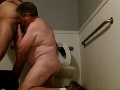 Fucking a vidz Silverdaddy in  super the Toilets