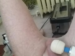 Pantyhose, a vidz Fuck machine,  super a magic wand, and cum!