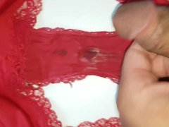 French lover vidz cum on  super my wife red dirty and sexy panty
