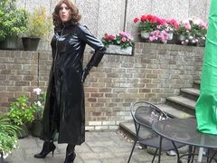 Alison in vidz PVC and  super Thigh Boots spraying spunk over the garden