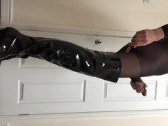 Bodystocking with vidz cock sleeve  super and pvc thigh high boots