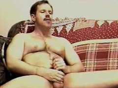 Mustached daddy vidz blows a  super load in his own mouth