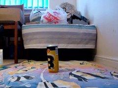 Anal Ball vidz Beer Can,  super Balls in Handcuffs & Fishnet Stockings