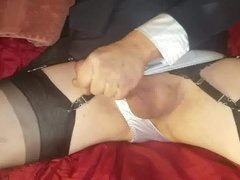 Wife encouraging vidz me to  super cum on my stockings