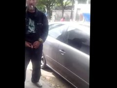 Caught - vidz Bearded daddy  super pissing on the street (cut cock)