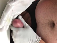 Masturbating in vidz gloves and  super ripped pantyhose