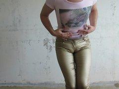 Fag in vidz shiny tight  super pants