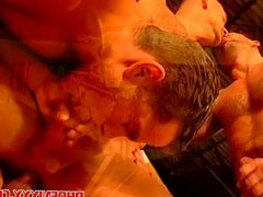 Airplane hanger vidz horny gay  super hunks wild foursome orgy