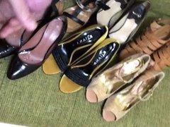 Wife's heel vidz collection splashed  super with sperm!