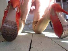 teasing with vidz orange platform  super heels