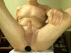 dad cums vidz with a  super dildo up his ass