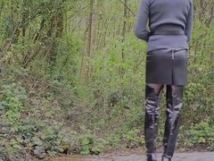 Amanda walking vidz out in  super leather thigh high boots