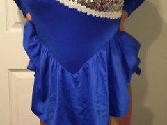 locked up vidz in shiny  super blue dress