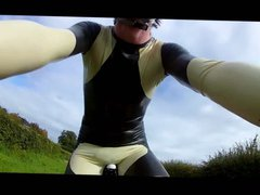 latex cycling vidz skinsuit. black  super and sand