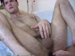 Straight men vidz jacking off  super with gay men Landon's sausage was sensitive when