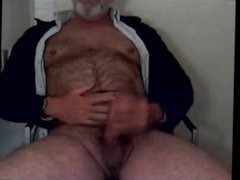 Hairy grandpa vidz unloads his  super hairy uncut cock and balls