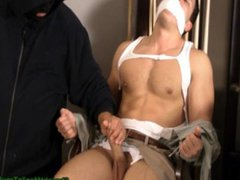 Guy chair vidz tied &  super gagged and jerked off
