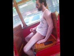 Slim guy vidz jerking in  super the bus for friends