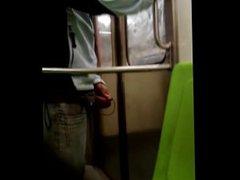 Jerking off vidz on the  super train