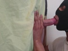 Lycra hooded vidz suck at  super glory hole