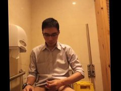 Horny Asian vidz Businessman Jerking  super Off In Public Bathroom