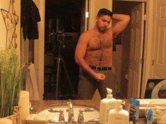 Don Stone vidz Masturbating In  super Slacks & Belt Hot Hairy Latino Straight Guy