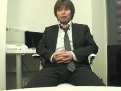 Japanese businessman vidz takes off  super pants at work and jerks off