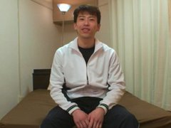 Skinny athletic vidz Japanese stud  super strokes his hard cock and cums