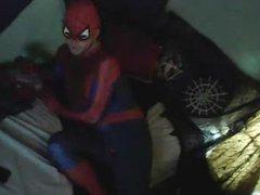 scared spiderman vidz surrenders, smokes  super and strokes stiffy