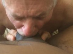 Old White vidz DADDY,moaning ,  super on A NICE FAT BIG BLACK COCK, & Swallowing CUM !
