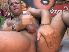 Latino with vidz cock ring  super jerks off and pounds asshole