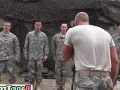 Gay soldier vidz gets on  super knees and swallows big hard cock