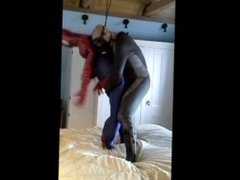 pantyhose villain vidz wears a  super wetsuit to abuse captured spiderman