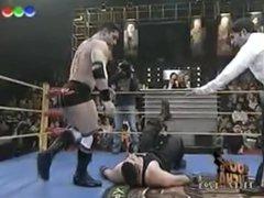 Body Builder vidz is taken  super apart in the wrestling ring