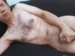 Hairy Japanese vidz DILF measures  super and jerks his cock