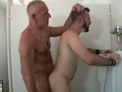 Dirty Boy vidz Dominick August  super Takes Daddy Rex Silver's Cock In Public Bathroom