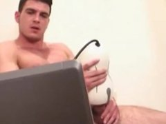 Hot muscle vidz masturbation his  super hairy dick with a toy