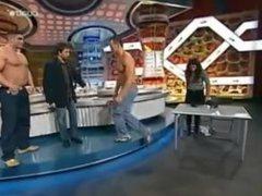 Two sexy vidz Italian Men  super bounce their pecs on TV