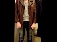 Jerking Off vidz in all  super my Leather Jackets with Big Load