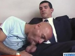 In spite vidz of him:  super Roland real Str8 banker gets sucked by a client !