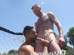 ManRoyale Aiden vidz Hart fucked  super and facialed outdoors