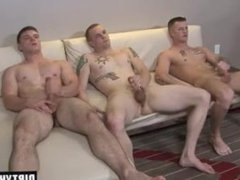 Muscle gay vidz threesome with  super cumshot