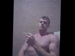 Smoking Hot vidz Teen Bodybuilder  super - Muscular Shirtless Smoke Break