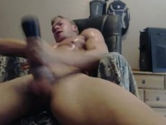 Hot Young vidz Teen Blonde  super Bodybuilder FUCKS his pocket pussy with his UNCUTCOCK