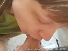 Long haired vidz chubby gives  super a halfhearted blowjob