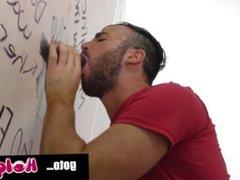 Bearded Gentleman vidz Sucking off  super a gay huge cock in a Gloryhole... HoleJam com