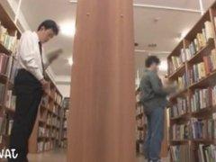 Japanese Man vidz Masturbates in  super Library 1