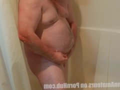 Chubby guy vidz cleaning the  super fuck out of his dick in the shower
