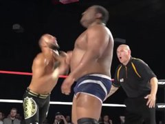 Stud Ricochet vidz gets a  super working over but finally finishes the bigger Keith Lee