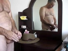uncut daddy vidz dick cumming  super in front of a mirror